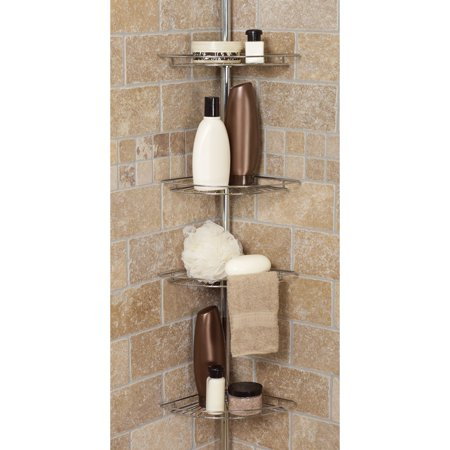 ZENITH/BATHWARE Bathtub Corner Caddy, 4-Shelf, White 2114W