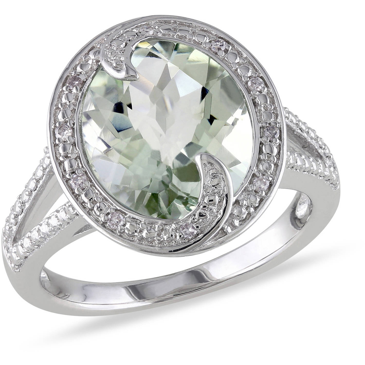 Tangelo 4 Carat T.G.W. Green Amethyst and Diamond-Accent Sterling Silver Cocktail Ring