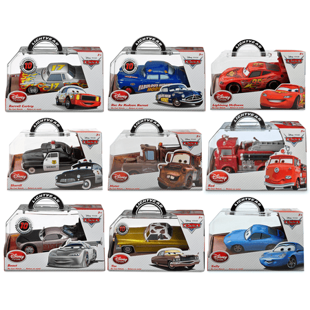 Disney / Pixar Movie Cars (Disney Pixar Die-Cast Cars Movie Toy Collector Set Lighning Mcqueen-Doc As Hudson Hornet-Tow Mater Truck-Red Fire Truck-Sheriff Polic Car-Boost-Sally-Tex-Darrell Cartrip 1:43 Scale Cartoon Merchandise)