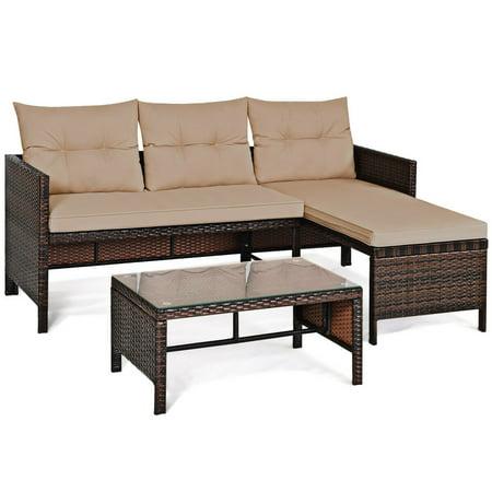 Costway 3PCS Patio Wicker Rattan Sofa Set Outdoor Sectional Conversation Set Garden Lawn - image 8 of 9