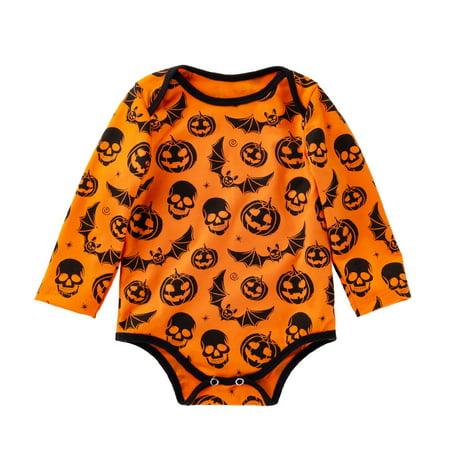 Mosunx Newborn Baby Girls Long Sleeve Halloween Cartoon Skull Pumpkin Romper Jumpsuit - Halloween Skulls Cartoon