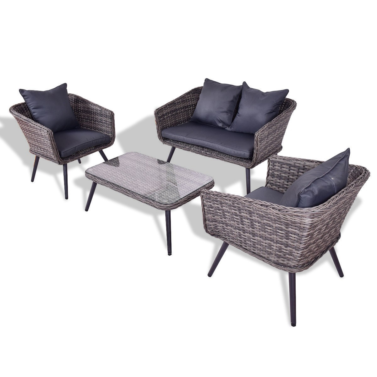 4 pcs Grey Rattan Wicker Furniture Set by