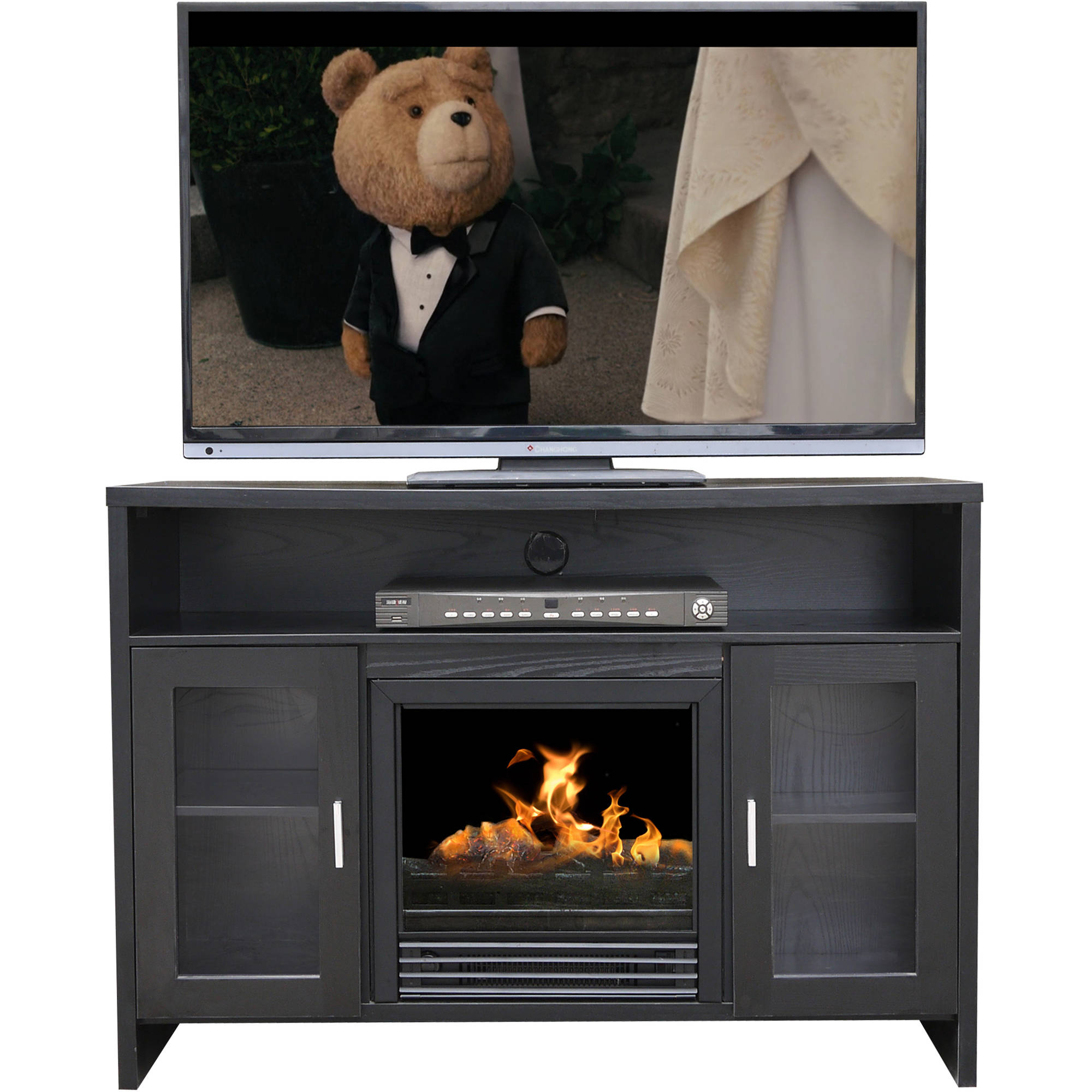 "D��cor Flame Hudson 42"" Media Fireplace, for TVs up to 50"", Black"