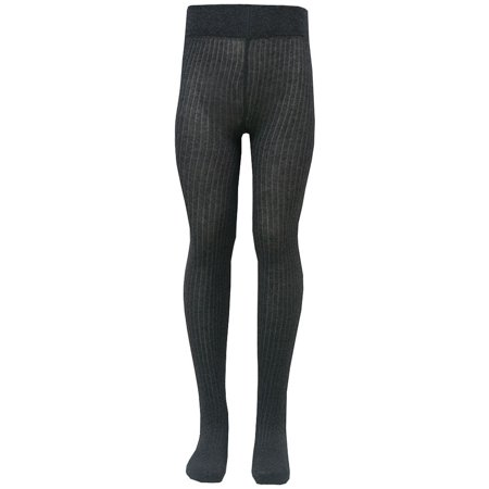 Little Girls Charcoal Elastic Waist Ribbed Texture Tights 2T-6