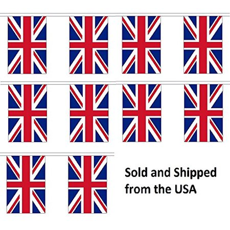 10' United Kingdom (UK) String Flag Party Bunting Has 10 Great Britain 6