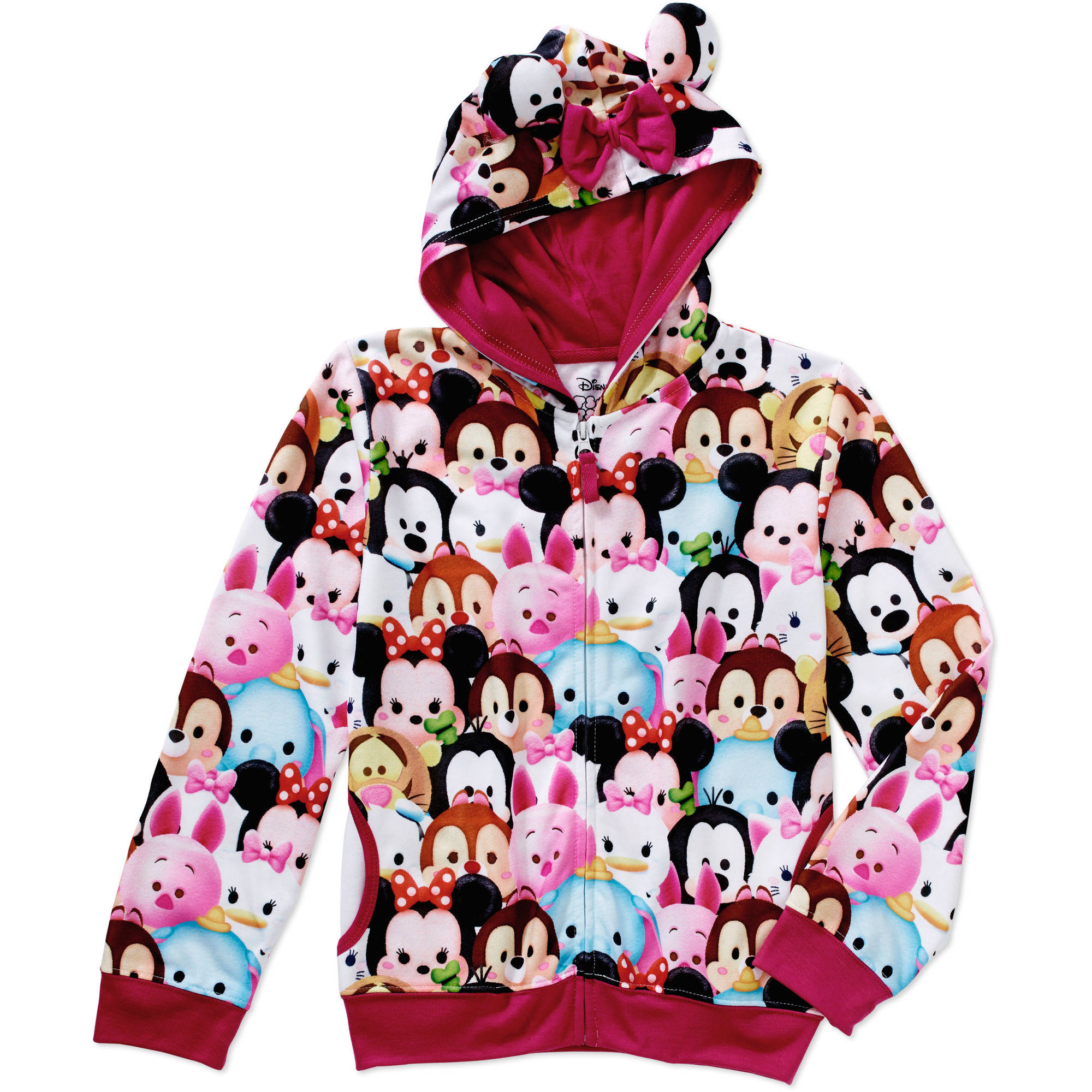 Tsum Tsum Girls' Character Collage Sublimated Zip Up Hoodie with Bow & Ears on Hood