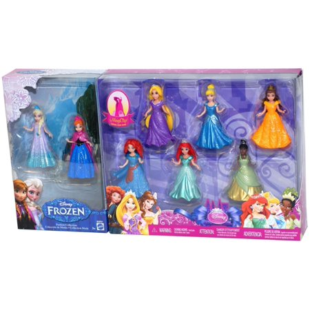 Disney Princess Doll Giftset, 8 Piece - Featuring Anna, Elsa, Cinderella, Belle, Merida, Rapunzel, Ariel and Tiana