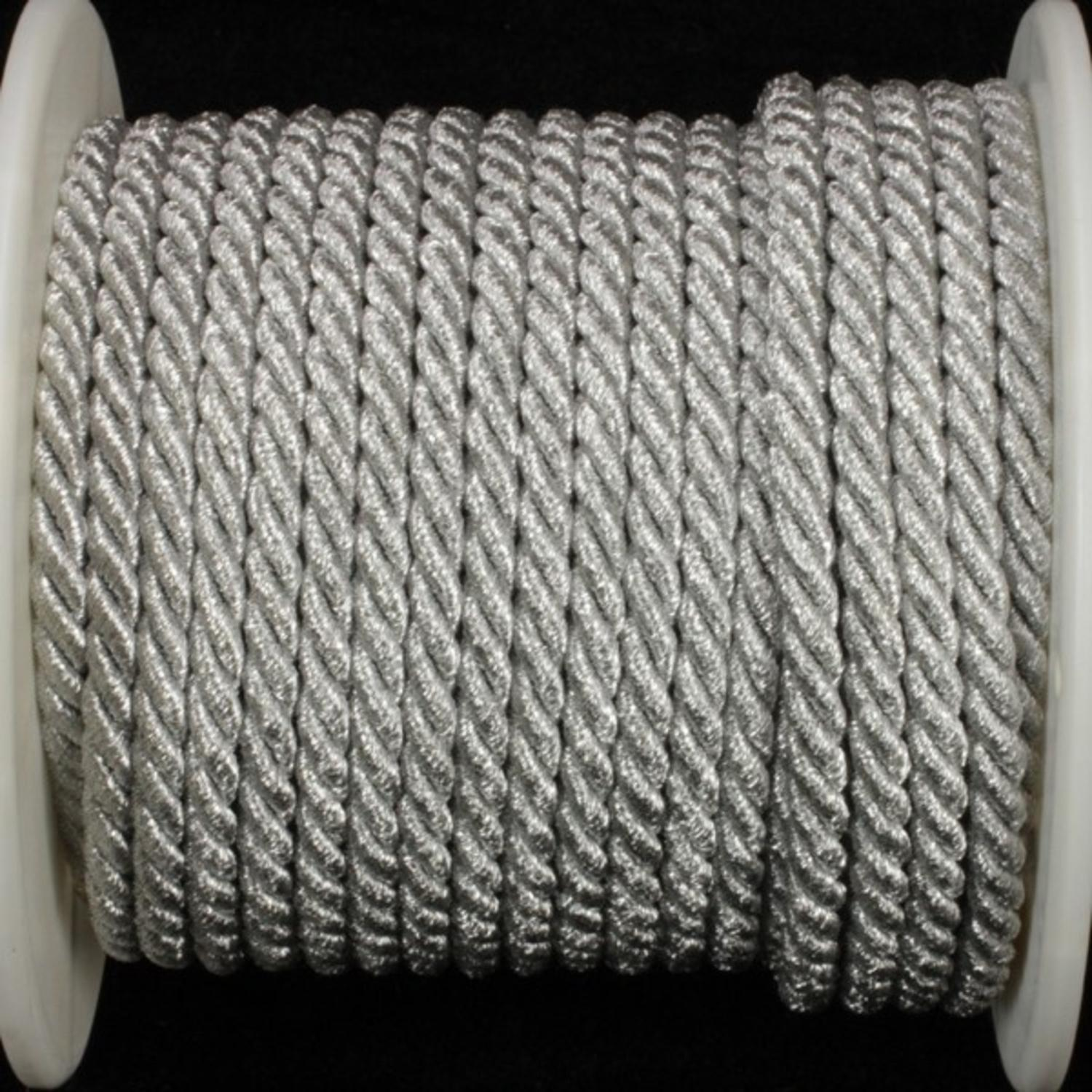 "Silver Metalized Braided Cording .25"" x 27 Yards"