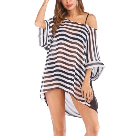 e47b619a4a SAYFUT - SAYFUT Women Chiffon Tassel Swimsuit Cover up Beach Bikini Stylish  Pompom Tassel Trim Bathing Suit Swimwear Cover ups - Walmart.com