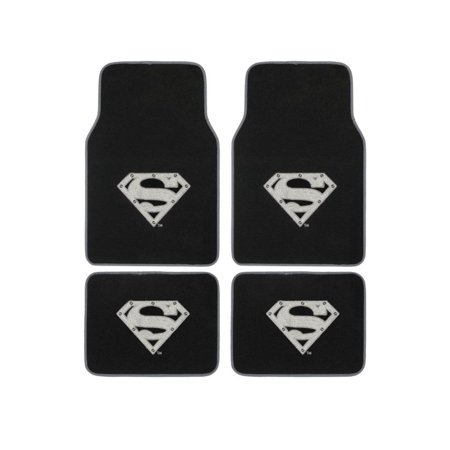 Many Auto Accessories - Superman Silver Shield Logo 4 Carpet Floor Mats