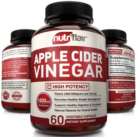 Apple Cider Vinegar Capsules 1600MG - Powerful ACV Pills for Natural Weight Loss, Detox, Digestion - Supports Healthy Blood Sugar & Immune