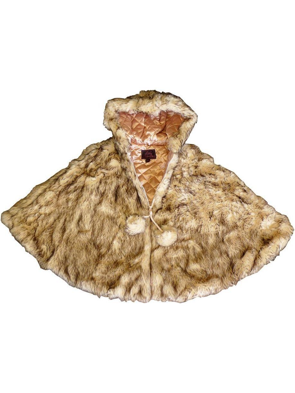 Little Girls Crystal Fox Faux Fur Poncho 5-6