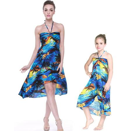 Matching Hawaiian Luau Mother Daughter Butterfly Dress in Sunset Blue 2XL-6