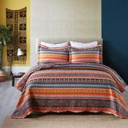 MarCielo 3 Piece Bohemian Lightweight Quilt Set Boho Quilt Bedspread Lightweight Bedspread Coverlet By012