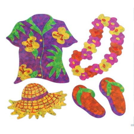 Bulk Roll Prismatic Stickers, Mini Hawaii Shirt / Lei (100 Repeats) - Cheap Leis In Bulk