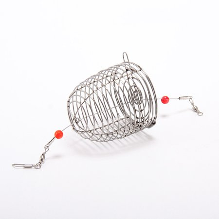 Stainless Steel Fishing Lure Bite Proof Wire Bait Feeder Basket Trap Cage Round Bottom