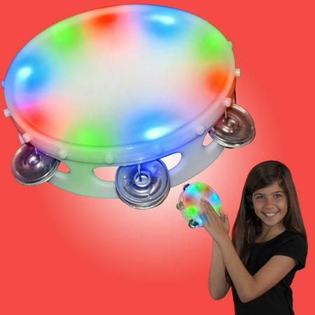 FlashingBlinkyLights Light Up Round Tambourine Toy - Personalized Tambourine