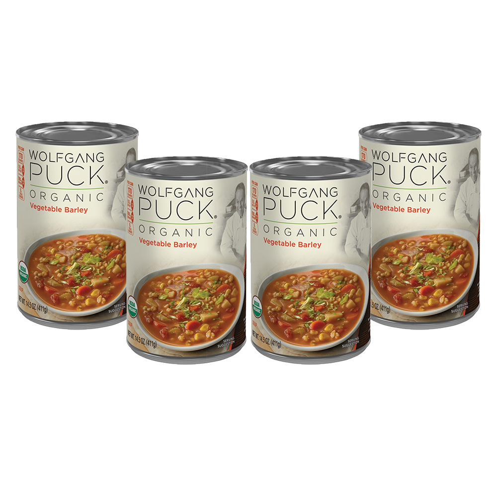 (4 Pack) Wolfgang Puck Organic Vegetable Barley Soup, 14.5 oz. Can