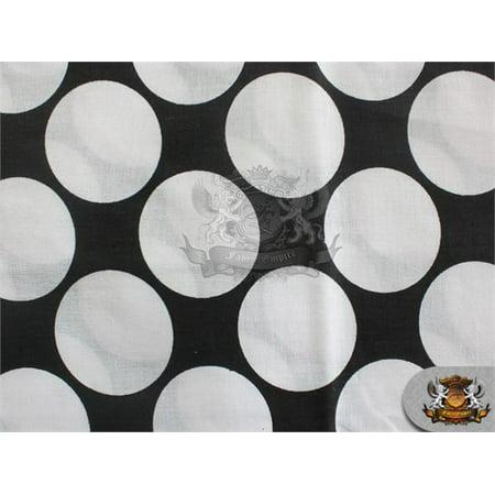 Polycotton Printed Fabric LARGE POLKA DOTS WHITE BLACK / 60