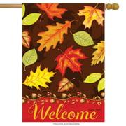 "Fall Leaves Welcome House Flag Autumn Briarwood Lane 28"" x 40"""