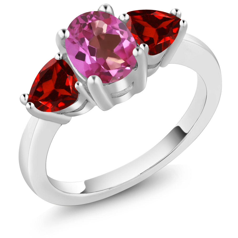 2.38 Ct Oval Pink Mystic Topaz Red Garnet 18K White Gold Ring by