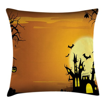 Halloween Decorations Throw Pillow Cushion Cover, Gothic Haunted House Bats Western Spooky Night Scene with Pumpkin, Decorative Square Accent Pillow Case, 16 X 16 Inches, Orange Black, by Ambesonne - Spooky Scene