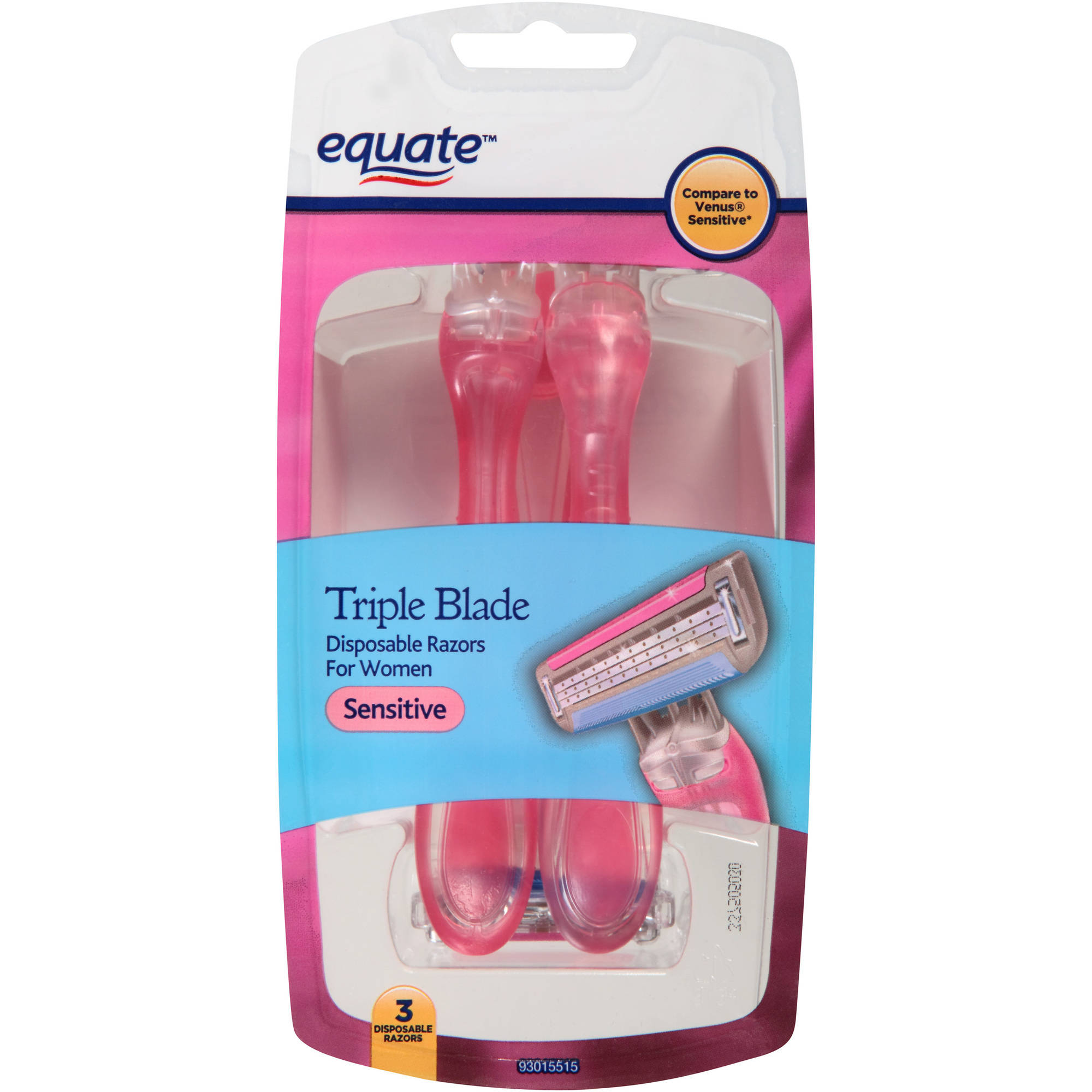 Equate Sensitive Triple Blade Disposable Razors for Woman, 3 count
