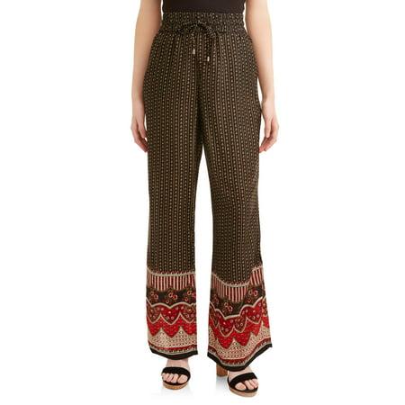 Juniors' Printed Rayon Gauze Wide Leg Flare Pants