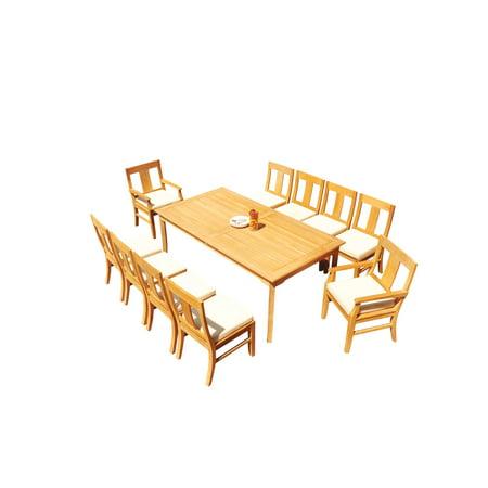 "Grade-A Teak Dining Set: 10 Seater 11 Pc: 83"" Rectangle Table And 10 Osborne Arm Chairs Outdoor Patio WholesaleTeak #51OS-0111"
