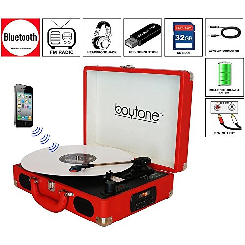 Boytone Bt101rd Red Exclusive Turntable Mobile Breifcase