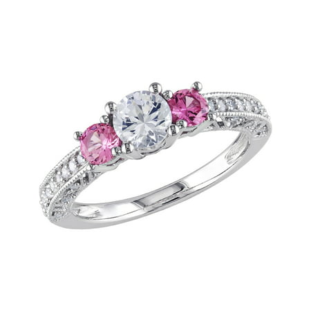 Created Pink and Created White Sapphire Three Stone 1.20 Carat (ctw) Ring with Diamonds in 10K White