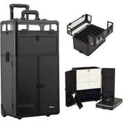 Sunrise I31066PPAB Black Smooth Trolley Makeup Case -I31066