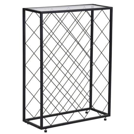 Glass Top Metal Wine Rack (32 Bottle Metal Storage Display Wine Rack w/ Glass Table Top )