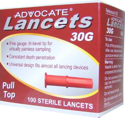 Advocate Lancets 30G For Blood Diabetes Glucose Diabetic Testing 100 Each