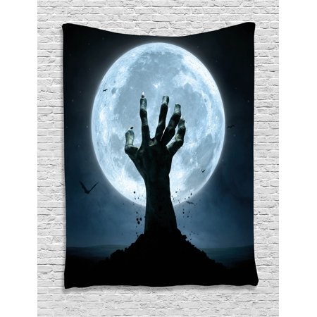 Halloween Tapestry, Realistic Zombie Earth Soil Full Moon Bat Horror Story October Twilight Themed, Wall Hanging for Bedroom Living Room Dorm Decor, Blue Black, by Ambesonne - Halloween Theme Story Map