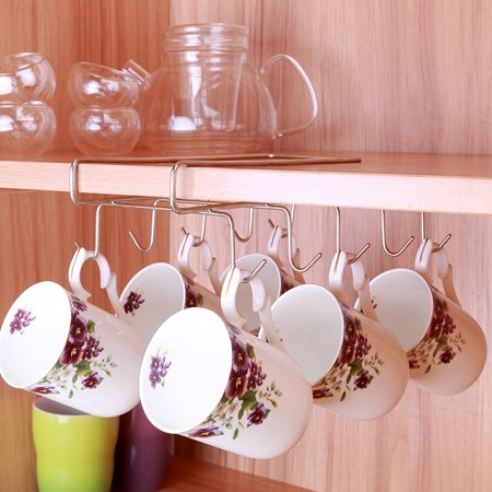Mug Holder Coffee Tea Cup Rack Storage Kitchen Under Shelf Cabinet Hanger 10 Hooks