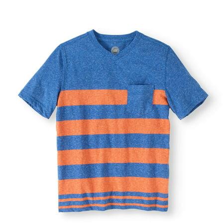 Boys' Short Sleeve V-Neck Stripe Pocket Tee - Clearance Boys