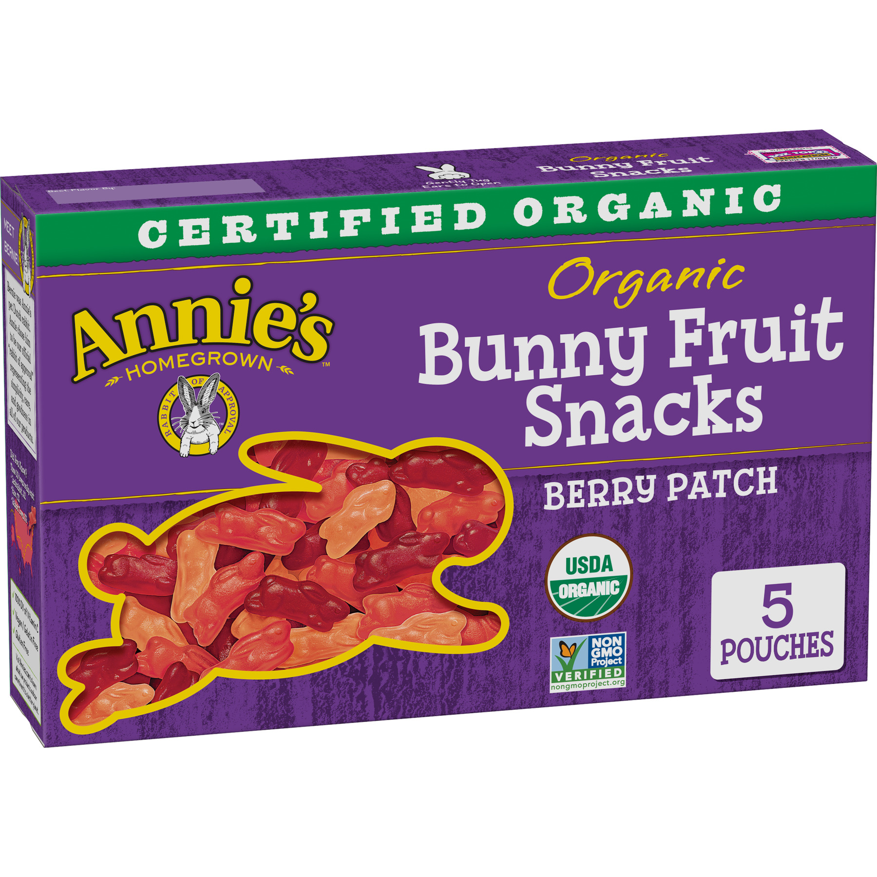 Annie's Organic Bunny Fruit Snacks, Berry Patch, 5 Pouches, 4.0 oz