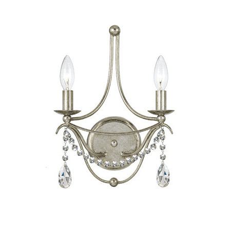Wall Sconces 2 Light With Antique Silver Clear Spectra Crystal Wrought Iron 10 inch 120 Watts - World of Lighting
