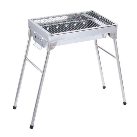 ALEKO Lightweight Portable Foldable Stainless Steel Charcoal Barbecue Grill