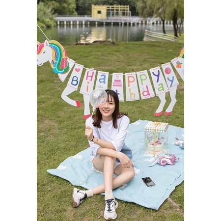 Unicorn Happy Birthday Banner - Glitter Finish - Super Cute Unicorn Party Supplies - 6 to 7 Feet Long