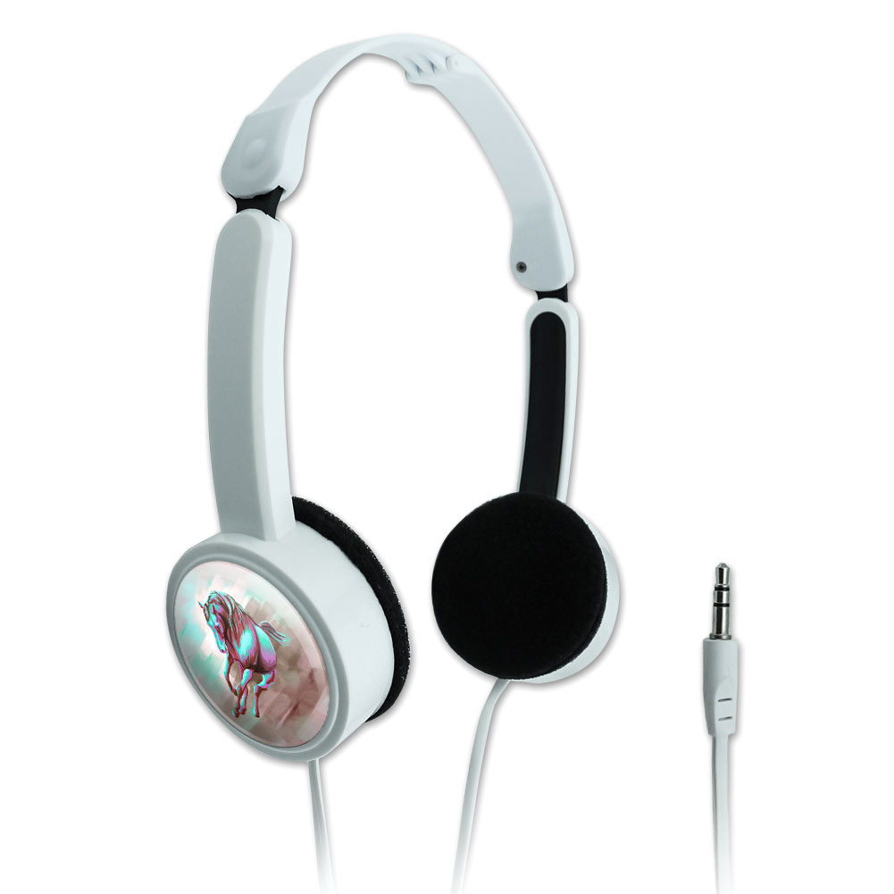 Horse Running Painting Aqua Pink Novelty Travel Portable On-Ear Foldable Headphones