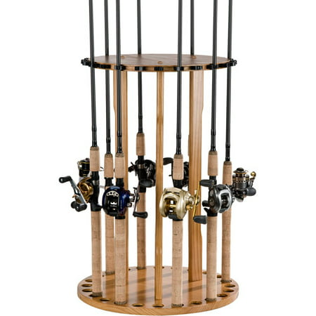 Organized fishing spinning rod rack for Fishing pole at walmart