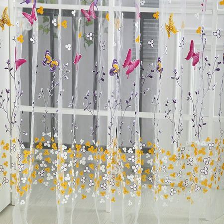 Mosunx Butterfly Sheer Curtain Tulle Window Treatment Voile Drape Valance 1Panel Fabric