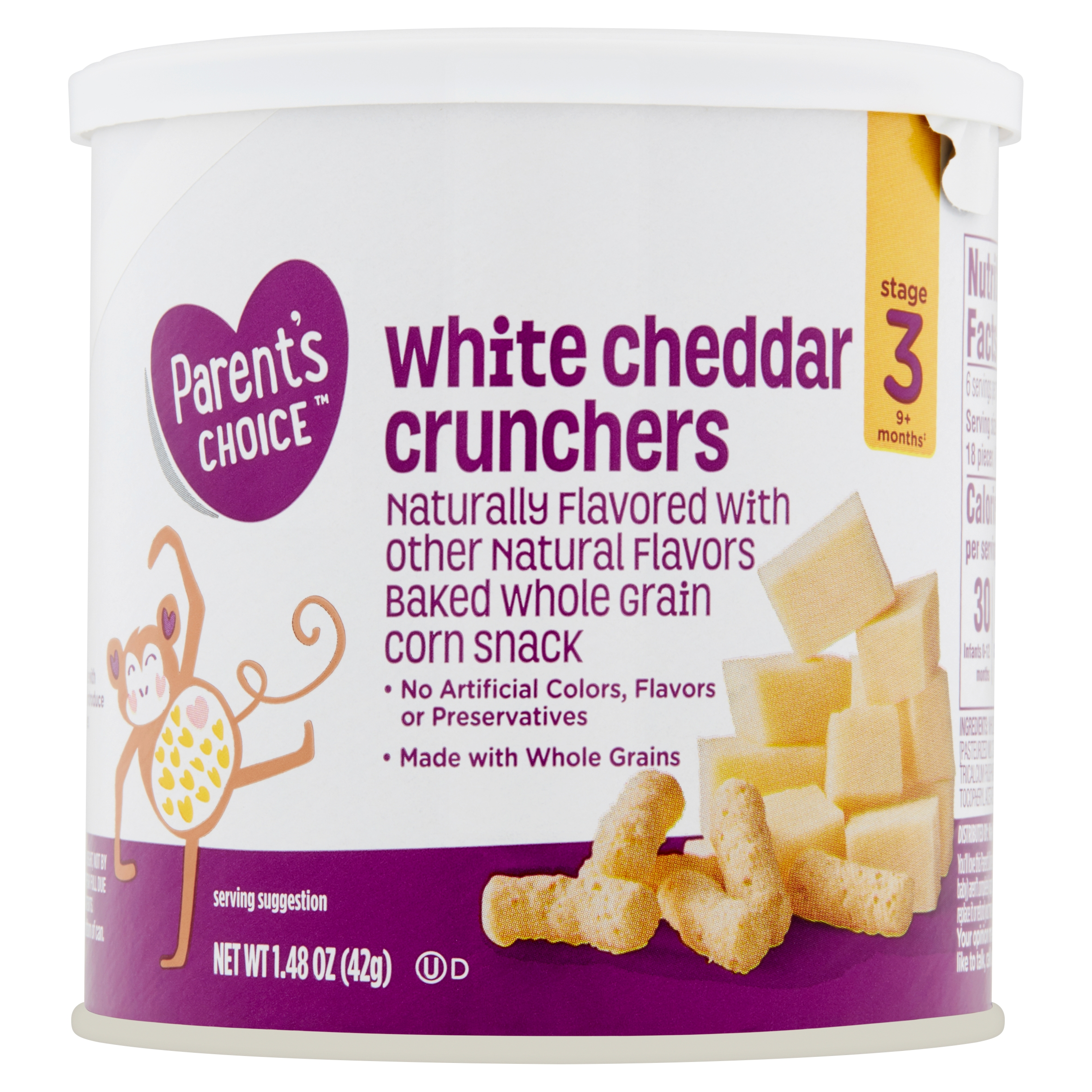 Parent's Choice Little Munchers, White Cheddar, Stage 3, 1.48 oz