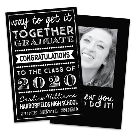Personalized Black And White Graduation Announcement