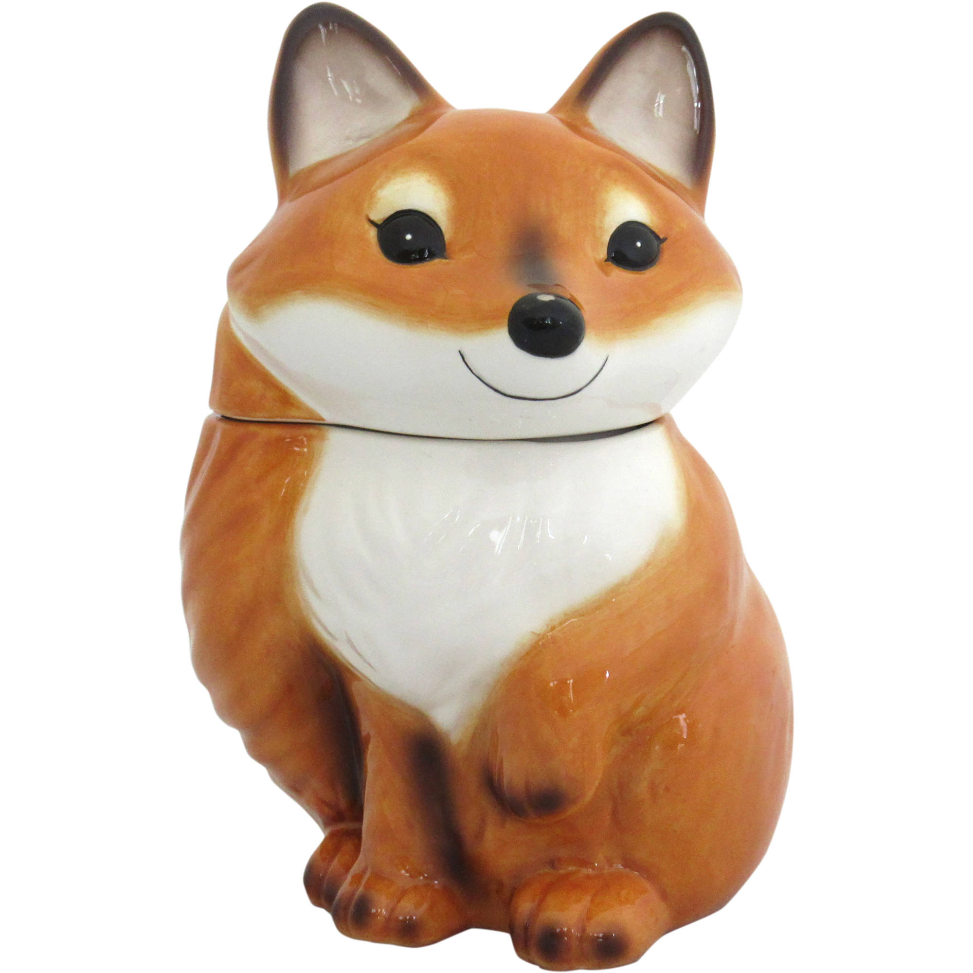 Earthenware Fox Cookie Jar, Brown