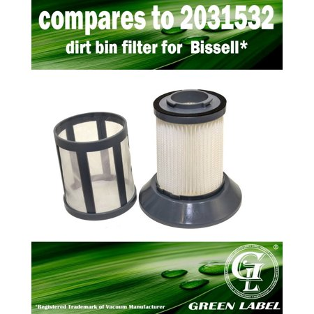 For Bissell Zing Bagless Canister Dirt Cup Filter (compares to 2031532, 2031772) and Dirt Cup Filter Screen (compares to 2031531, 2031771). Fits: 6489, 10M2, 64892, 64894. Genuine Green Label Product