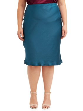 Love Sadie Women's Plus Size Jewel Tone Satin Finish Midi Skirt
