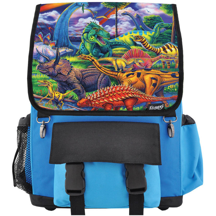 Kidaroo High Quality Dinosaur Jungle School Backpack For Boys, Girls and Kids, Multiple Colors Available